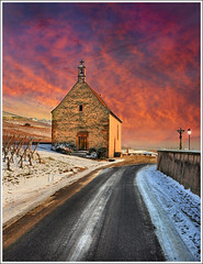Church Street (Jean-Michel Priaux) Tags: street pink winter sky snow france church photoshop painting way landscape religion sainteanne chapel colmar alsace neige ruelle paysage rue chapelle anotherworld abbaye wintry mattepainting abbay priaux sigolsheim