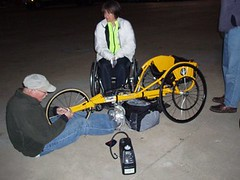 Re-assembling the racing chair in the cold dark AM