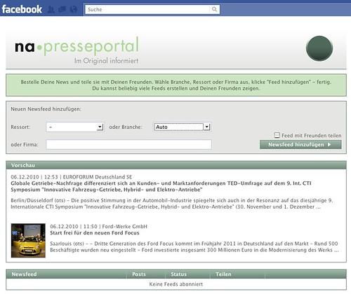 Presseportal-App für Facebook