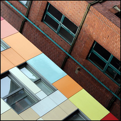 sugar coated (foto.phrend) Tags: city urban building architecture modern square pastel yorkshire leeds diagonal 400d