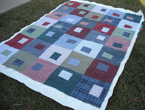 shirt quilt, quilting finished