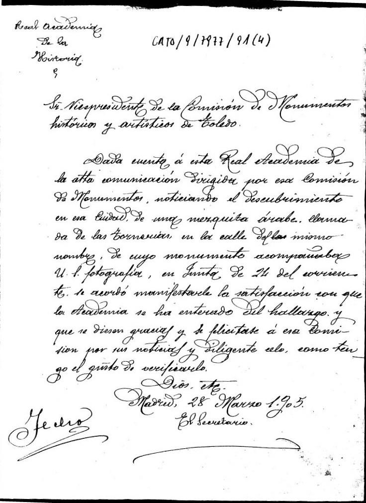 Carta de Agradecimiento de la Academia de la Historia por la comunicación del hallazgo de la mezquita de Tornerías. 28 de marzo de 1905