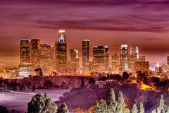 The Sky Painted Red (Joshua Gunther) Tags: california park ca city longexposure sunset urban skyline night canon landscape photography la losangeles los downtown cityscape angeles joshua dusk cityscapes 5d elysian hdr gunther mkii joshuagunther