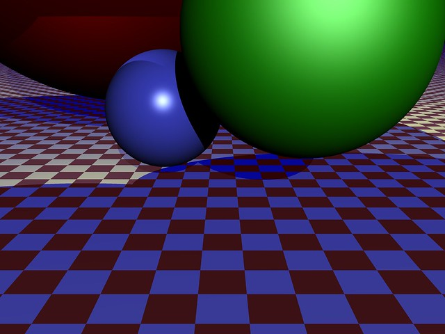 3 spheres on checkerboard
