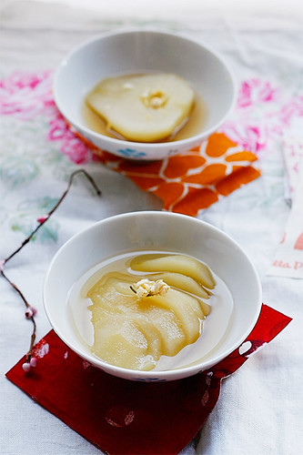 Poached pears...