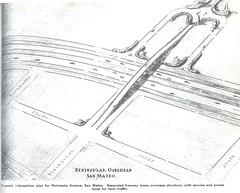 Peninsula Avenue interchange (1940) (Eric Fischer) Tags: plan us101 bayshorefreeway unitedstateshighway101