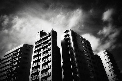 フリー写真素材, 建築・建造物, 高層ビル, 日本, 東京都, モノクロ写真,
