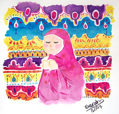 (Sarah Mousa) Tags: watercolor veiled islam pray muslimah muslimgirl islamicpatterns