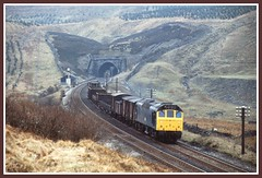 A Class 25 leaves Blea Moor Tunnel with a short mixed freight in March 1978. (SemmyTrailer) Tags: sc train rat tunnel railways carlisle freight aei settle sulzer class25 bleamoor