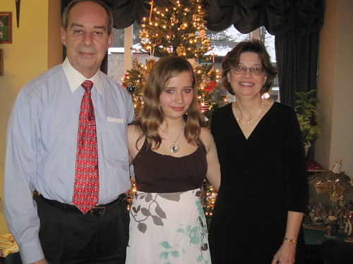 12/18/10: Becca with grandparents for a night out.