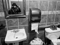 reflections of me... (Doug Churchill) Tags: b blackandwhite bw white selfportrait man reflection male guy public bathroom 1 mirror blackwhite athletic alone adult interior w streetphotography handsome mature american single short attractive restroom ambient streetphoto inside goodlooking boomer babyboomer oneperson slender lean middleage humaninterest caucasian northamerican middleaged dougchurchill canong12