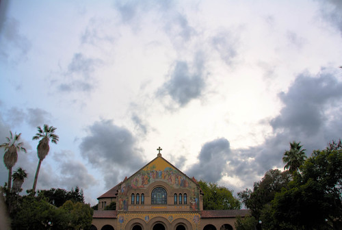 Clouds over Stanford chapel HDR
