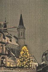 (velo_city) Tags: morning winter holiday church germany dark effects early lowlight europe bonn december glow christmasmarket christmastree christmaslights iphoto 2010 münsterbasilika bonngermany bonnmunster