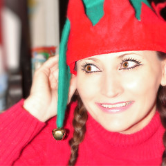 Santa's Lil' Helper... (~lala~(Lisa)) Tags: red portrait selfportrait green me smile self myself sweater eyes nikon expression lisa elf sp expressive 365 braids visualpoetry emotive selfie jinglebells d90 elfhat 365days i nikond90 santaslilhelper ~lala~ project36612010 365days2010
