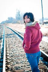 Wanderer (VMP photography) Tags: railroad fashion train portraits asian illinois model midwest boots modeling tracks style jacket portraiture hood godfrey mariabear