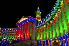 Merry Christmas from Denver, Colorado (Thad Roan - Bridgepix) Tags: county christmas city holiday building architecture night lights photo colorado image decoration picture newyear denver nativity civiccenter nosnow 201012