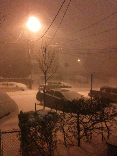 East Coast snowstorm, at night