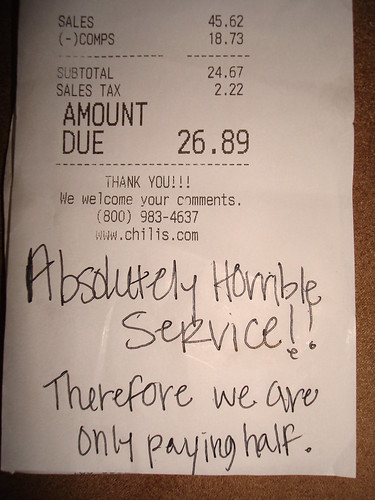 Absolutely Horrible Service !! Therefore we are only paying half.