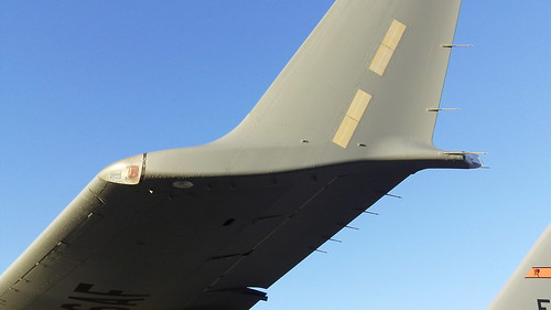 C-17A left wing underside side view winglet and supercritical airfoil