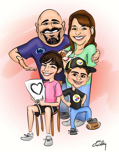 familycaricature11x14
