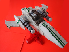 P-7V Starfighter - 3/4 (.Jake) Tags: white green lego stripes space spaceship swoosh starfighter foitsop
