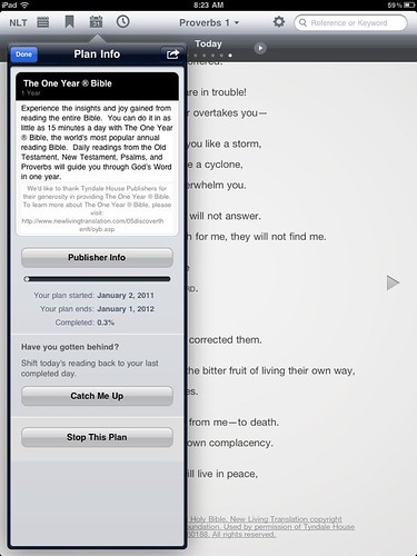 YouVersion 1 Year Bible (free) on iPad