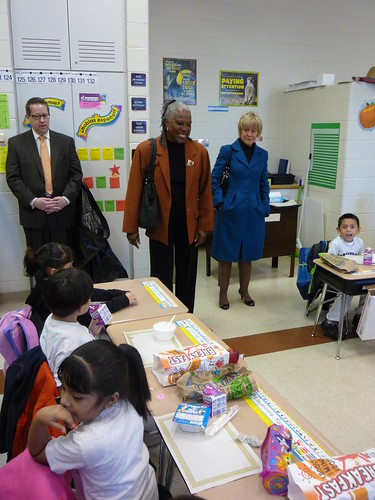 USDA's Audrey Rowe and Christie Vilsack joined children for breakfast in the classroom at McPherson Elementary in Chicago.