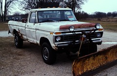 1978 Ford F250 Pickup (Cragin Spring) Tags: old winter white classic ford rural truck illinois rust midwest pickup richmond tires bone 1978 plow 1970s plowing tough fordtrucks f250 fordf250