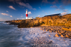 Golden Rocks at Portland (Justin Kercher Photography) Tags: morning light lighthouse sunrise portland dawn golden coast rocks dorset coastline portlandbill