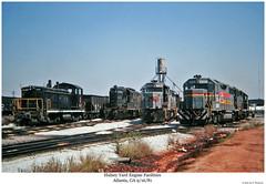 Hulsey Yard Engine Facilities Sept. 1981 (Robert W. Thomson) Tags: railroad atlanta train ga georgia war nw diesel railway trains locomotive trainengine switcher ln geep switchengine emd gp382 nw2 garr gp38 gp30 gp40 louisvillenashville gp7 wofa gp35 georgiarailroad fouraxle westernrailwayofalabama endcabswitcher hulseyyard