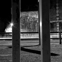 Behind Bars (LilFr38) Tags: city longexposure france streets cars night grenoble lights blackwhite entrance nuit rues canonef1740mmf4lusm ville lumires voitures entre noirblanc isre expositionlongue lilfr38 canoneos5dmarkii myownprisoncreed