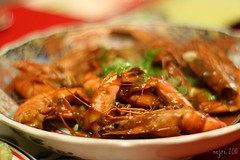Prawn Dish for New Year's Eve  ---  New Year's Eve Dinner [1] (_nejire_) Tags: food canon 50mm mas dish chinese tasty newyearseve malaysian prawn planar carlzeiss 400d carlzeissplanart1450ze