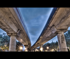 134/365 Converge (brandonhuang) Tags: bridge blue light shadow sky blur contrast train photoshop way lights high track dynamic metro pillar tracks fake shift rail pole faux convergence taipei poles mrt pillars tilt range hdr converge tiltshift brandonhuang