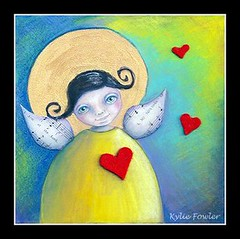 Angel trio No.1 - Mixed Media (Blissful Pumpkin) Tags: wood yellow angel watercolor hearts bigeyes eyes whimsy forsale bright handmade mixedmedia vibrant blueeyes halo felt trio coloured playful fowler whimsical musicnotes artworkforkids onwood feltheart watercoloredcrayons blissfulpumkin kyliefowler kyliepepyat loveheartswings