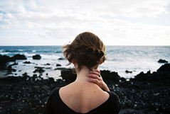 (fraser.douglas) Tags: blue sea beach water clouds 35mm hair neck back waves hand dress pentax 28mm nail polish gilr tenerife seafront f35 p50