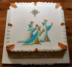 Three Wise Men Christmas Cake (Caro May) Tags: christmas square gold marzipan fruitcake threekings wisemen royalicing runouts