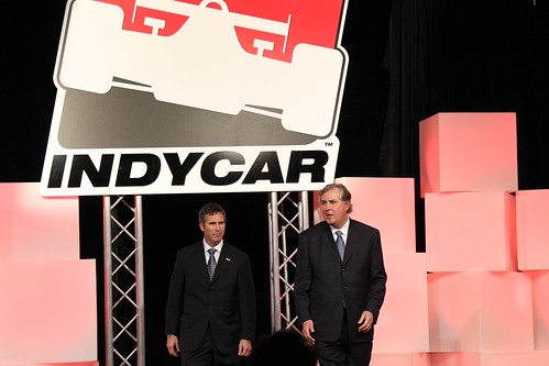 Randy Bernard and Jeff Belskus at the State of IndyCar address
