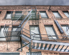 Stairway to ... ? (Spokeannie) Tags: spokane grunge fireescape hdr hdrcityimages