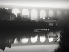 two sided (s k o o v) Tags: france fog viaduct dinan 1740l nd110 absoluteblackandwhite