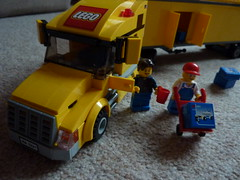 Lego: Coffee break (lydia_shiningbrightly) Tags: closeup truck toy lego zoom delivery vehicle hgv