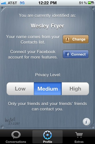 Privacy Options for HeyTell