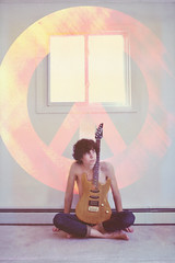 Peacemaker (nicholas dupont) Tags: boy white texture window electric peace guitar indoors barefoot curlyhair thebeatles skinnyjeans
