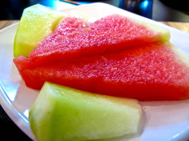 IMG_2464 Watermelon and honey melon slices - set lunch