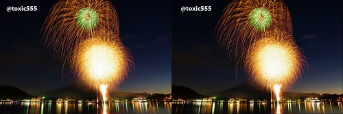 3D Fireworks with Mt.Fuji