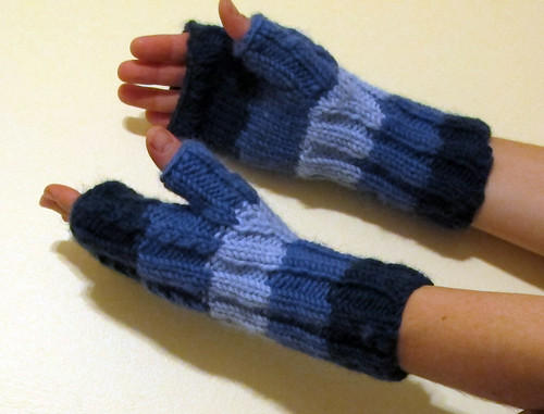 Tom's new fingerless mittens (but on my hands)