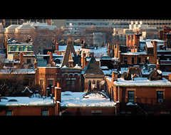 Cinematic Boston (Mike Cialowicz) Tags: city sunset urban snow brick rooftop boston buildings landscape ma nikon rooftops snowy massachusetts backbay vr brownstone brownstones dx bostonist 55200 d90