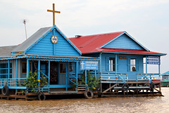 Floating catholic church on Tonle Sap lake. Cambodia (ital_vita) Tags: travel blue house lake color refl
