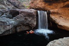 Challenging selfie (No Stone Unturned Photography) Tags: waterfall arizona little nemo pool float skatchkins backpacking camping river swimming hole selfie