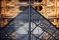 merger (helen sotiriadis) Tags: blue orange white abstract black paris france reflection water glass stone architecture canon published pyramid louvre steel symmetry rotation canonef50mmf14usm canoneos40d