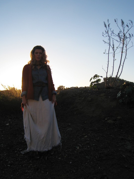 in the hills+ralph lauren 1980s look+long skirt+denim shirt
